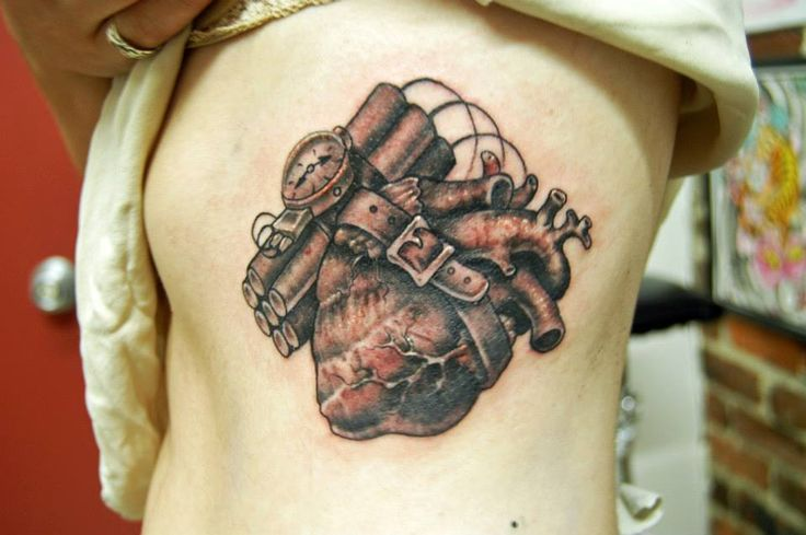 Time Bomb Tattoo Designs Black and grey anatomical heart with time ...
