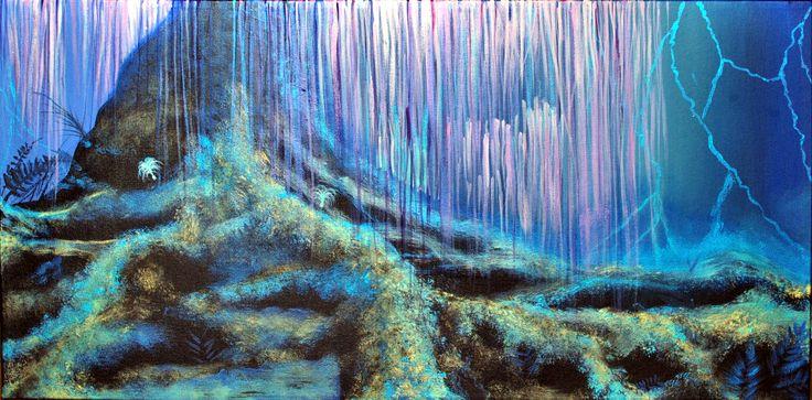 """Toile à l'acrylique """"Arbre des âmes"""" inspirée du film Avatar par Christine Bélanger, artiste peintre"""