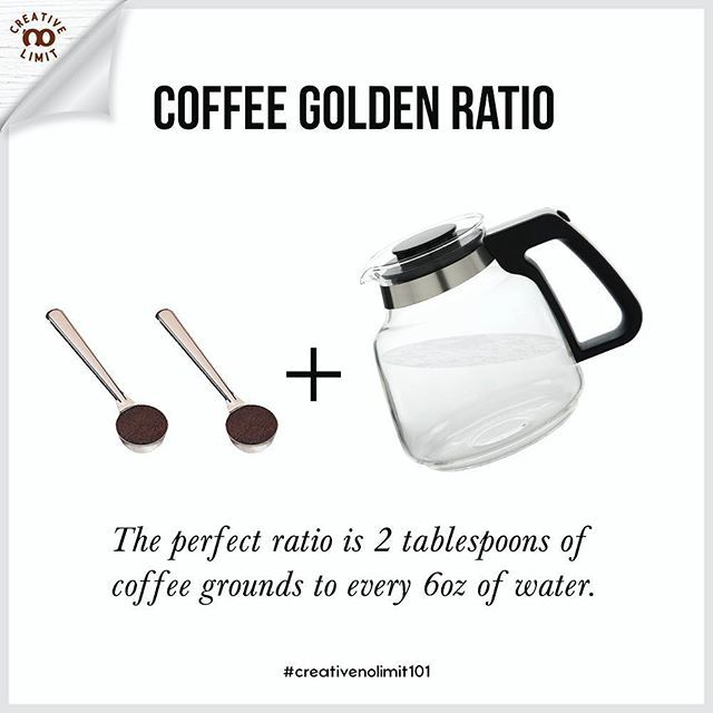 "The ratio of coffee to water is key to making a great cup of joe. A general guideline is called the ""Golden Ratio"" - one to two tablespoons of ground coffee for every six ounces of water. But of course this can be adjusted to suit individual taste preferences. . . #creativenolimit101 your daily tips for coffee making, graphic arts, photography, and leather crafts. Follow us spazio_creativenolimit to get more useful tips! . . #dailytips #tips #infographic #basic #kopi #coffee #coffeebrewing…"