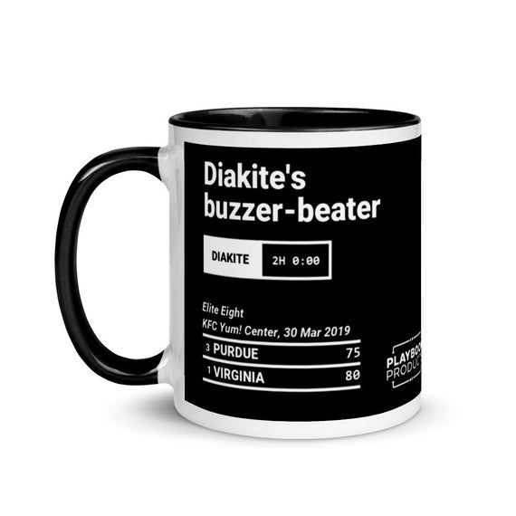 Relive one of the greatest  moments in Virginia basketball history with this ceramic 11oz  mug depicting this play:2019 Elite EightDiakite's buzzer-beaterVirginia vs Purdue80 - 7530 March, 2019Down by 2, Jerome was on the line and missed his free throw.  Diakite, surrounded by Purdue players, got to the rebounded and swatted the ball back into Virginia's own half.  Clark would run it down, swing briefly out wide while looking for the pass, then fling a half-court pass back to Diakite just outsid