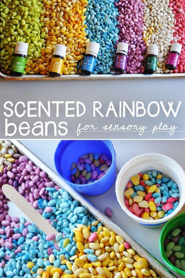 Rainbow scented sensory beans