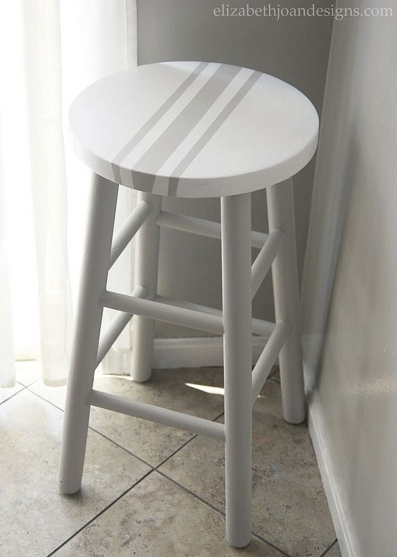 Painted Grain Sack Stripe Bar Stool