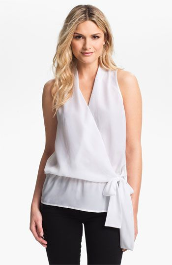 MICHAEL Michael Kors Sleeveless Crossover Blouse available at #Nordstrom. Light and airy.