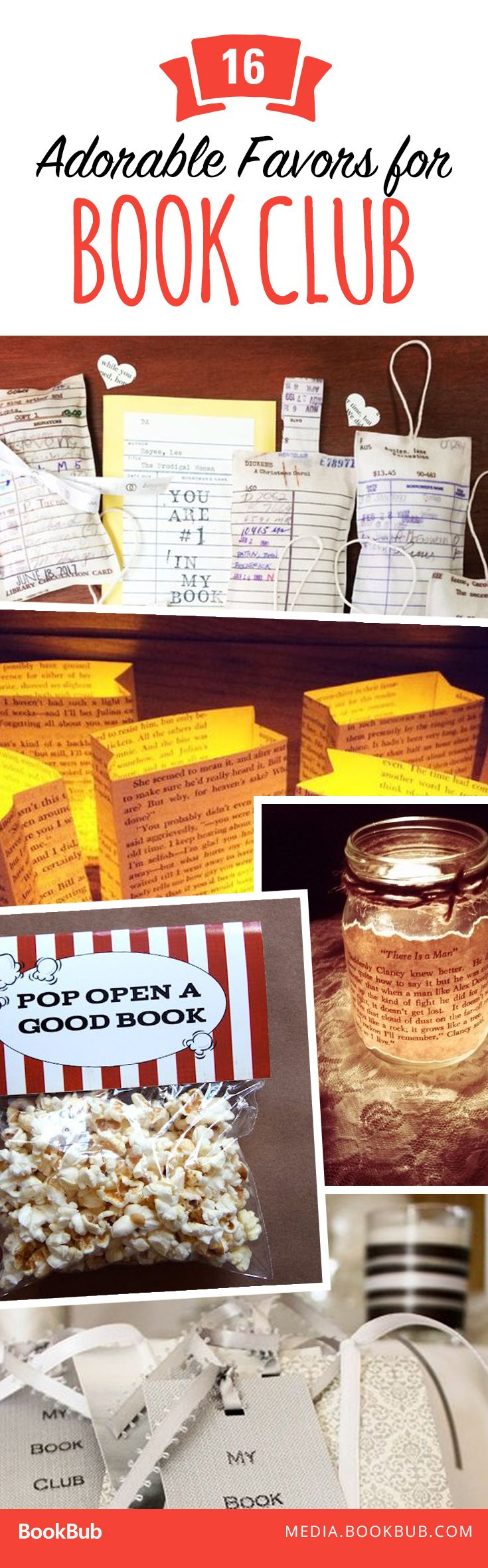 Hosting a book club party? These party favor ideas are sure to please! Including DIY options.