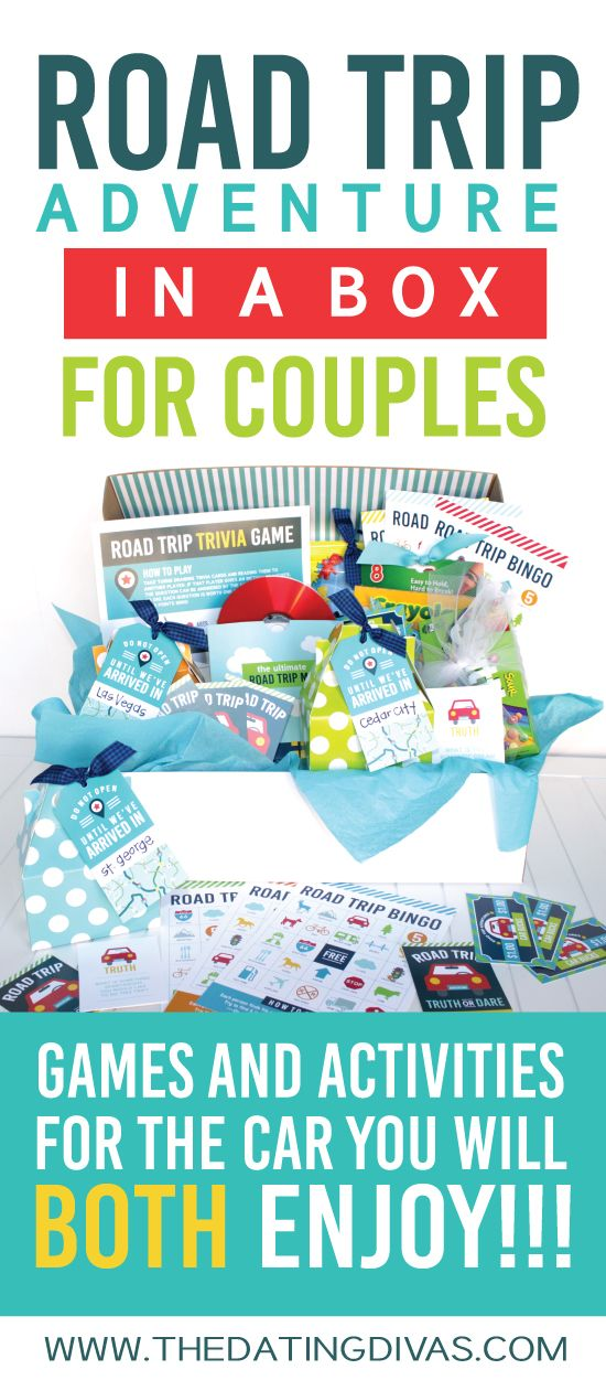 I am SO doing this for our next road trip! Check out this darling ROAD TRIP IN A BOX for COUPLES! Filled with free activities, printables, and games for every hour while you are driving! Pinning for later!!! www.TheDatingDivas.com