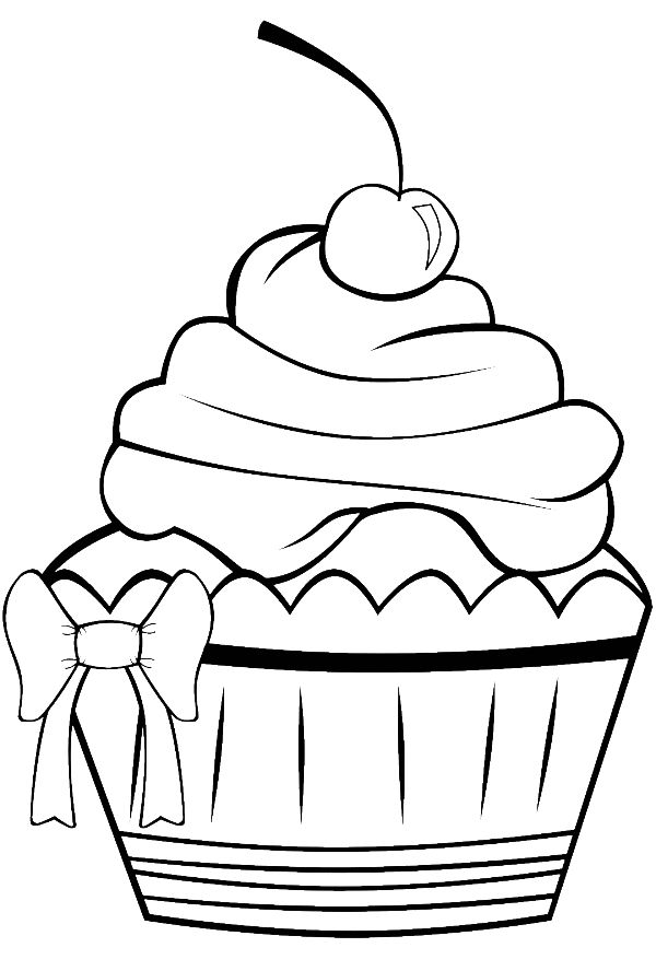 Birthday Cupcake Is Decorated With Ribbons Coloring Page: Birthday Cupcake Is Decorated With Ribbons Coloring Page