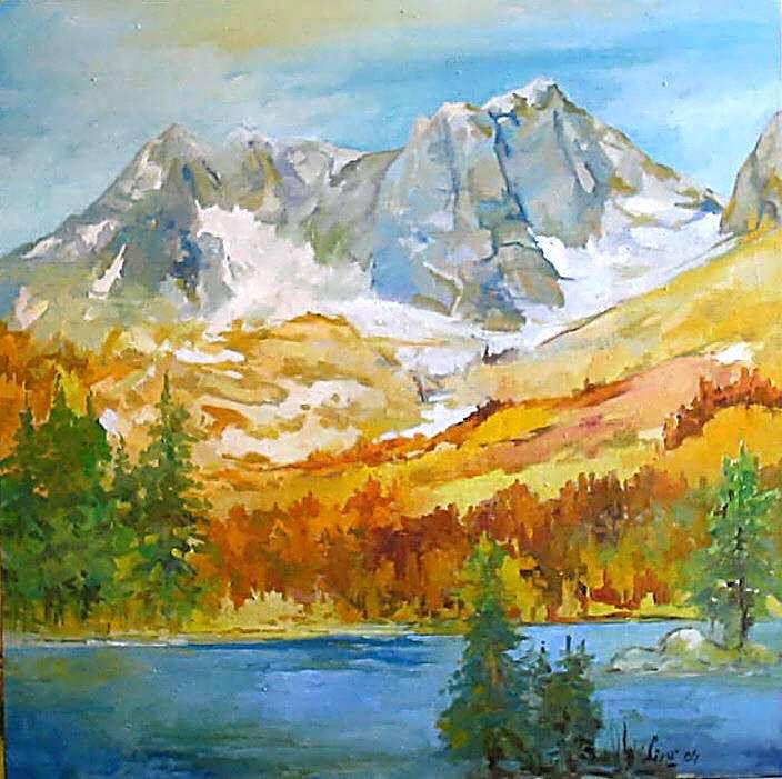 montagne 70x70 olio su tela