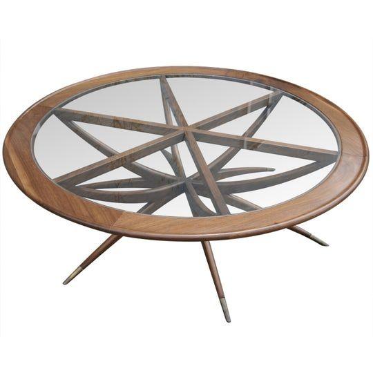 Spider Leg Round Coffee Table  Transitional, MidCentury  Modern, Glass, Wood, Coffee  Cocktail Table by Adesso Eclectic Imports