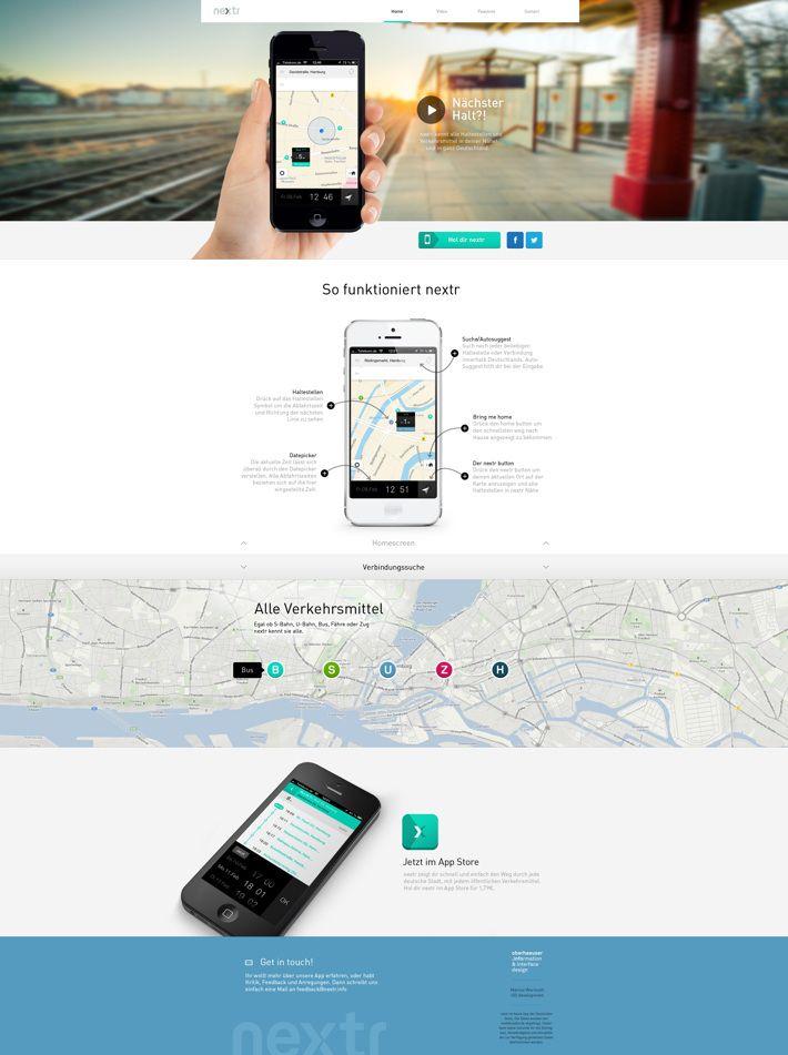 nextr app landing page by Martin Oberhäuser, via Behance