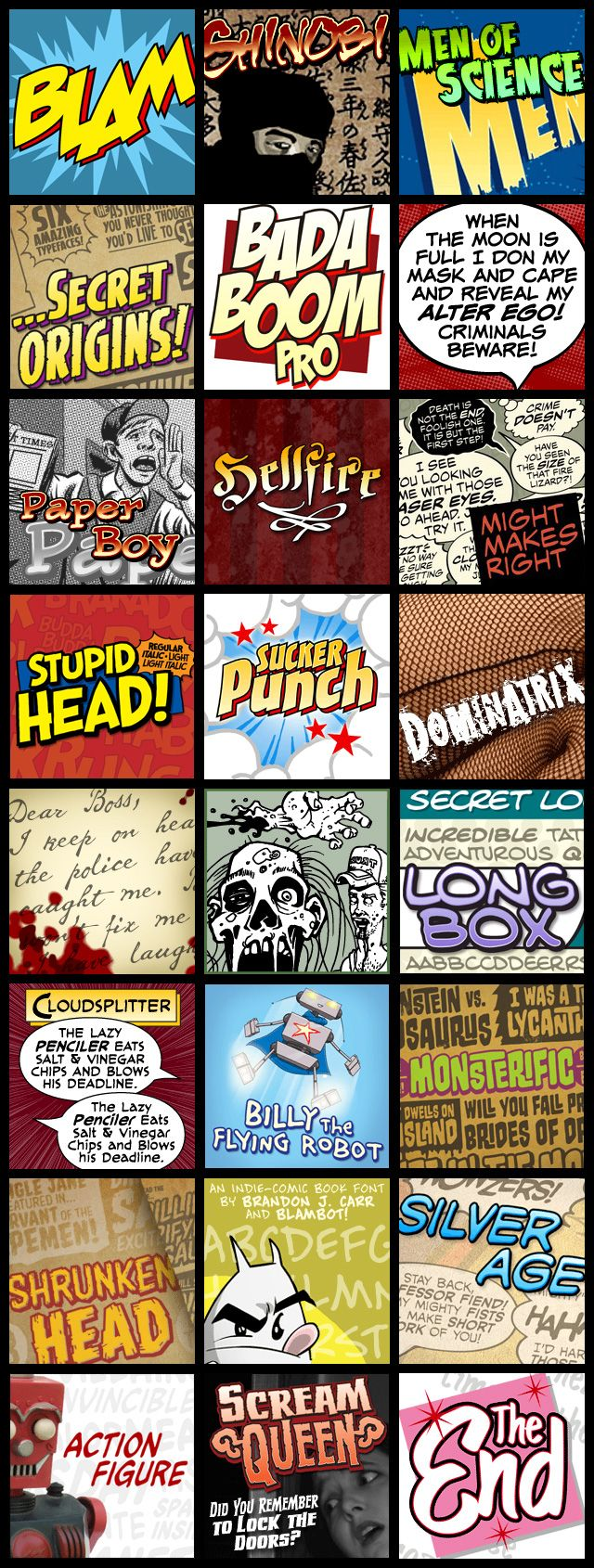 Comic book fonts by Blambot!