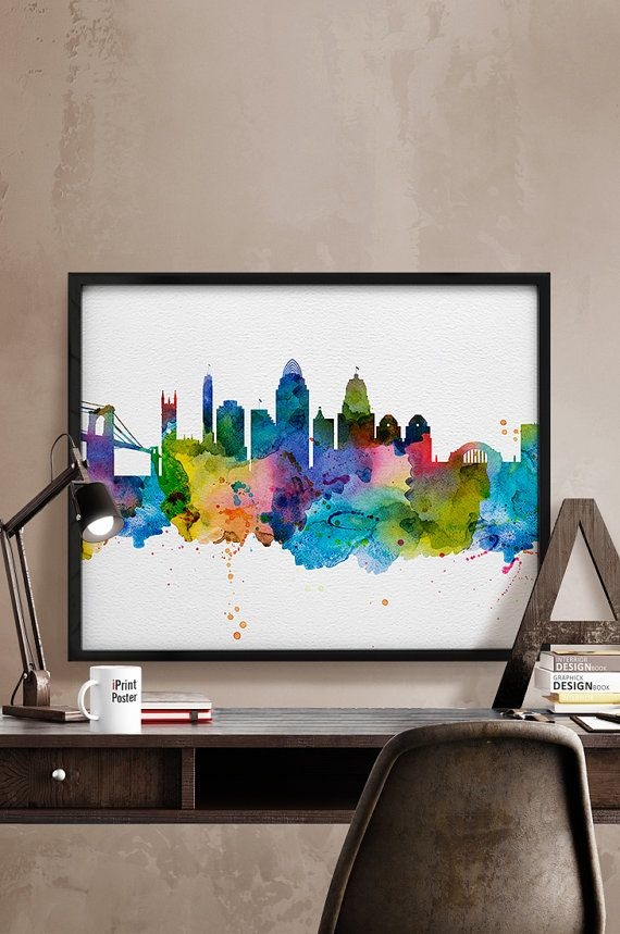 Cincinnati print Cincinnati skyline watercolor by iPrintPoster