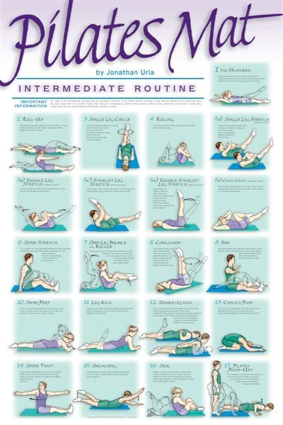 Pilates Poster - Intermediate Routine (not quick everything in traditional classical intermediate system, but a good guide)