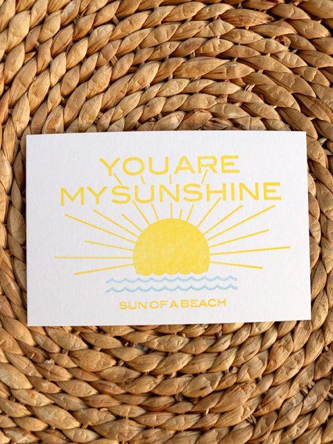 You are my Sunshine sun of a beach letterpress by studiosmalls