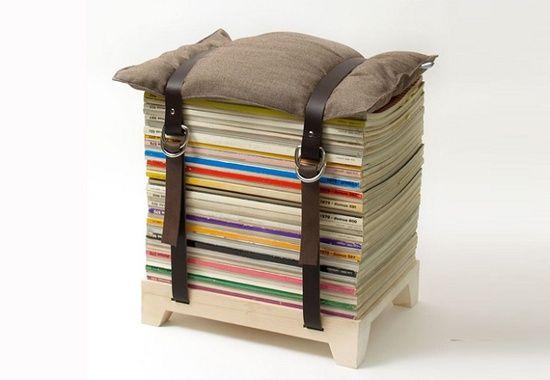 Magazines Recyclés en Pouf !Tout Simplement Génial !!