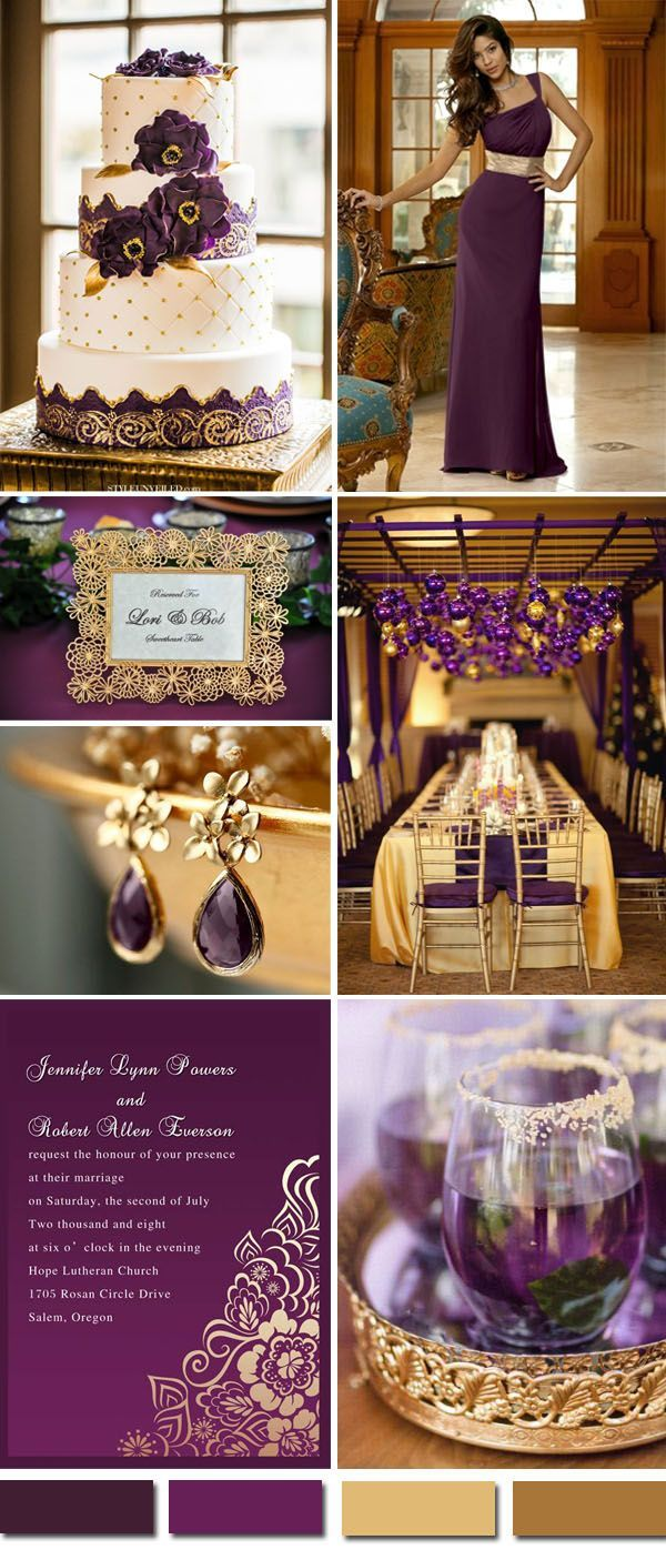 vintage purple and gold wedding color ideas