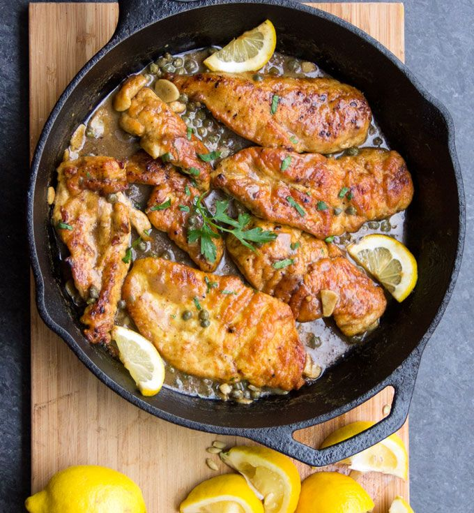 Chicken Piccata • tender chicken in a luscious lemony sauce • a quick and easy skillet dinner • Panning The Globe