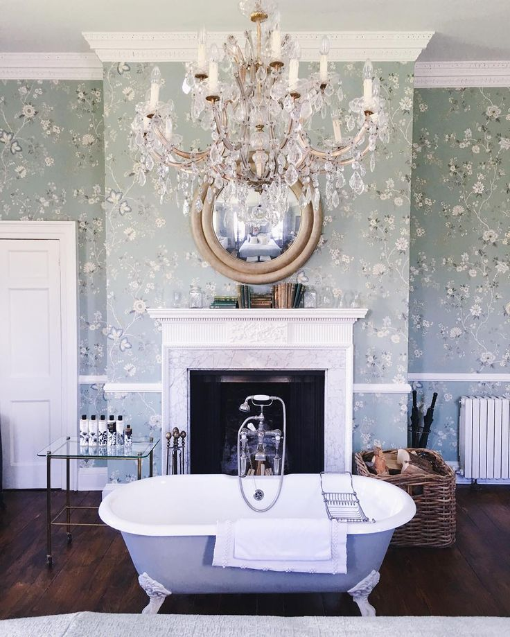 Yes to everything in our room. Wallpaper. Chandelier. Clawfoot tub. Fireplace…