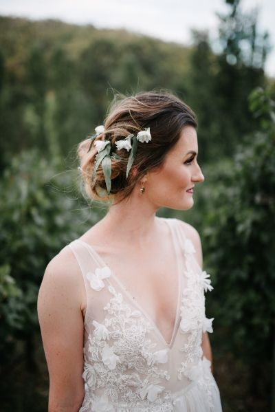 Romantic Outdoor Winery Ideas With Marsala - Polka Dot Bride - Perth Wedding Photography - Messy Bridal Updo - Flower Crown