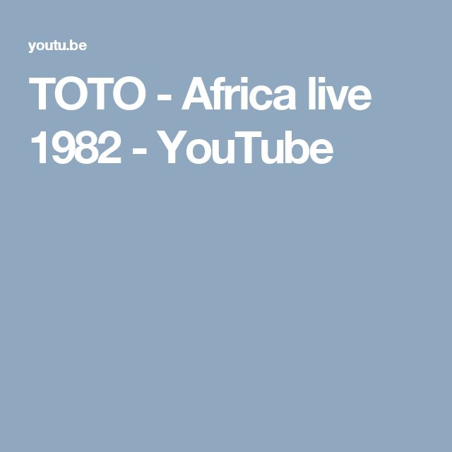 TOTO - Africa live 1982 - YouTube