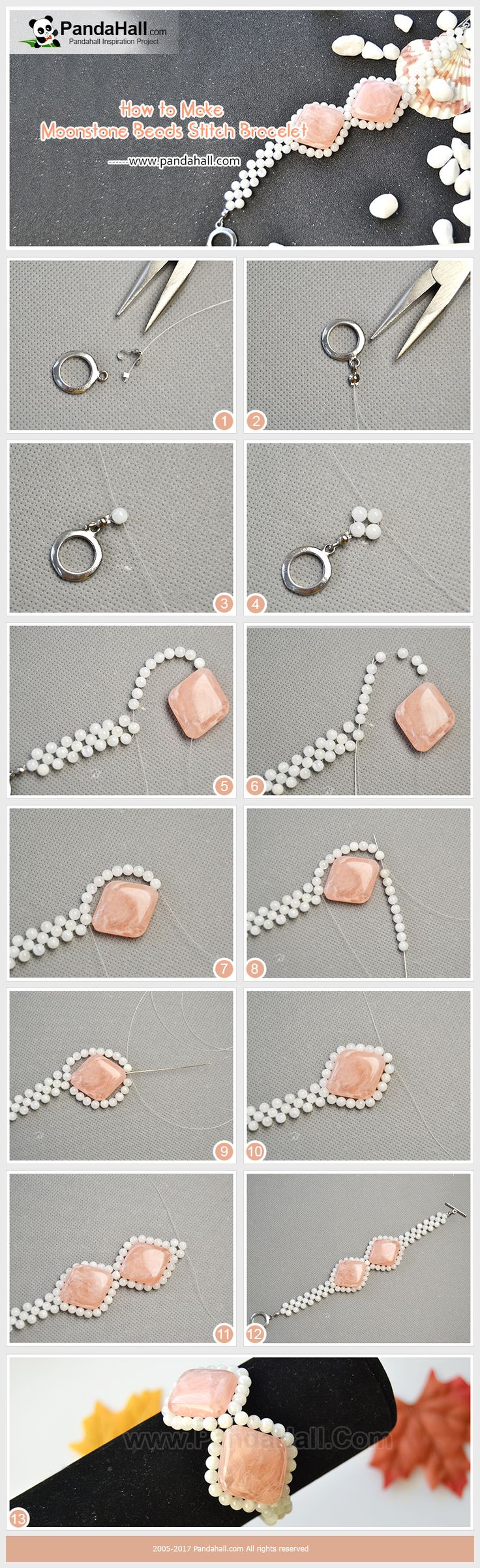 Pic ONLY How to Make Moonstone Beads Stitch Bracelet