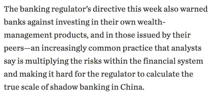 China's banking regulator warned banks against investing in their own wealth-management products or in those issued by other banks#Sober Lookchinafinis#April 12 2017 at 08:04AM#via-IF