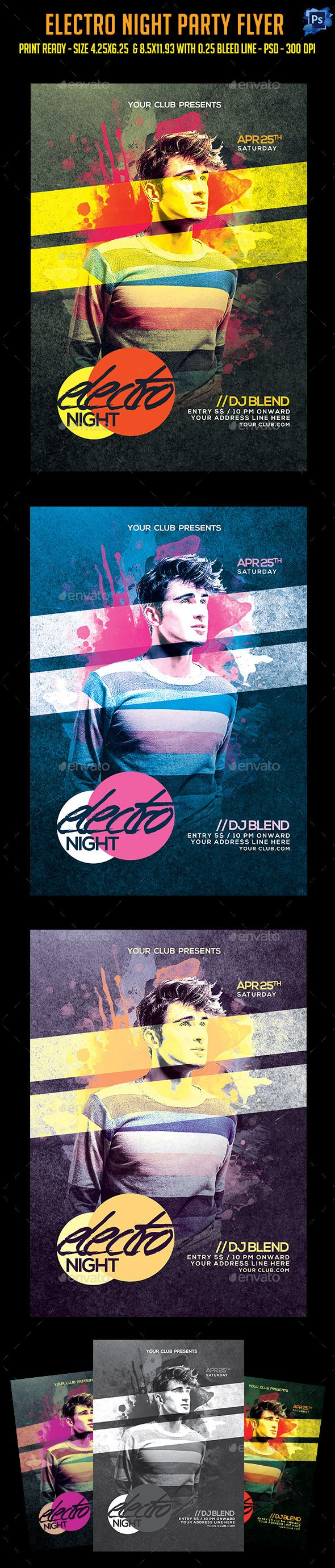 5s poster design - Electro Night Party Flyer