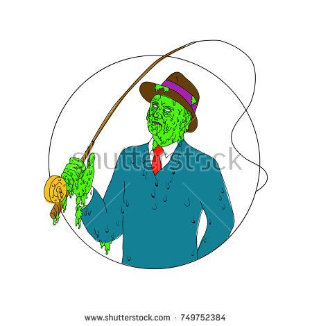 Grime art style illustration of a mobster fisherman wearing suit and tie and fedora hat holding a fly rod reel set inside circle.  #fisherman #grimeart #illustration