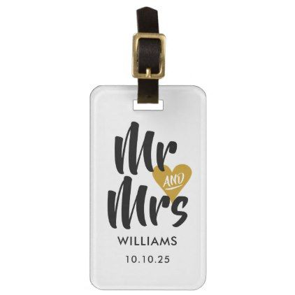 Personalised Gold Heart Mr and Mrs Luggage Tag - accessories accessory gift idea stylish unique custom