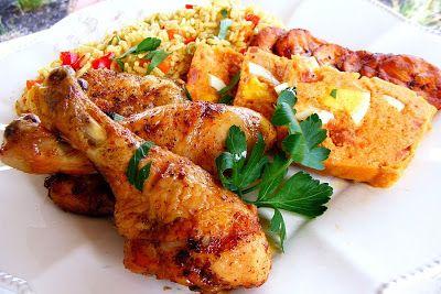 baked chicken drumsticks jollof rice barbecued chicken fried plantain ...