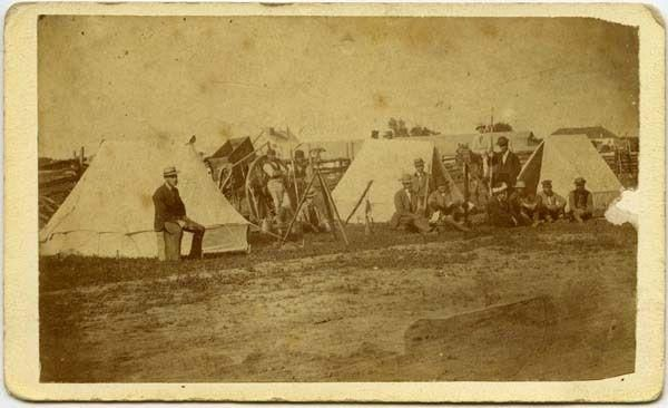 Federal Land survey party ~ Red River c1869 ~ in defiance of Metis claims Source: Australian Auctions