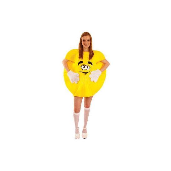 Geel M en M kostuum volwassenen. Dit gele M en M kostuum voor volwassenen bestaat uit de M en M, handschoenen en de schoencovers. Het kostuum one size. Carnavalskleding 2015 #carnaval