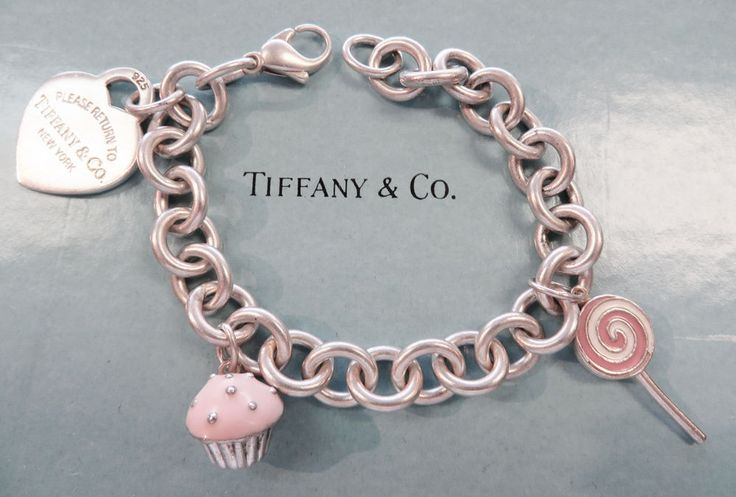 Tiffany and Co Sterling Cupcake Lollipop and Heart Charm Bracelet | eBay