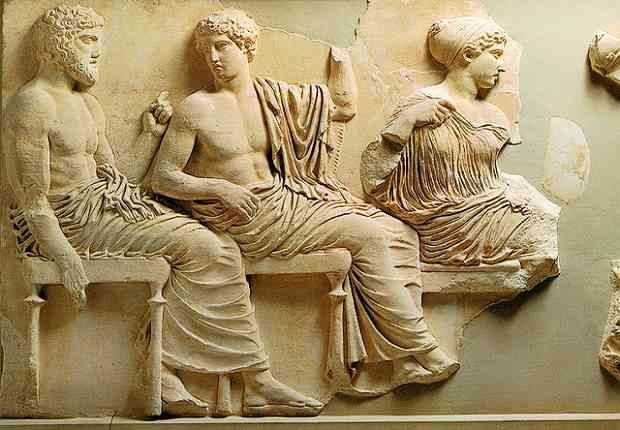 Seated gods and goddesses (Poseidon, Apollo, Artemis, Aphrodite, and Eros) of east frieze, Acropolis Museum, Athens
