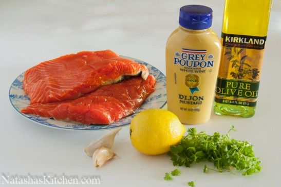 Baked Salmon Recipengredients for Baked Salmon 1.5 lbs salmon (this was wild sockeye salmon) 2 Tbsp fresh parsley, finely chopped 2 large OR 3 small cloves of garlic, pressed 1.5 tsp Dijon mustard (grey poupon) 1/2 tsp salt 1/8 tsp freshly ground black pepper 1/8 cup mild olive oil 2 Tbsp fresh lemon juice Lemon slices (mostly for effect :)