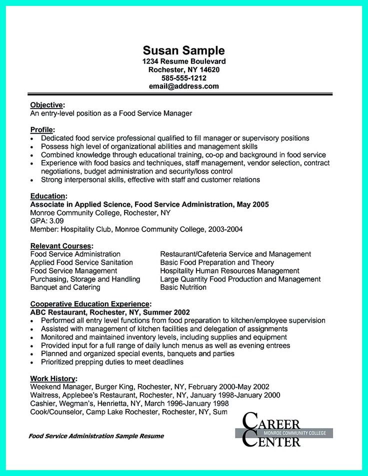 catering jobs resume sample