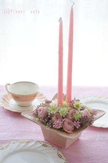 『【サロン装花】生まれ変わるキャンドル&フラワー♪』 http://ameblo.jp/flower-note/entry-11459810580.html