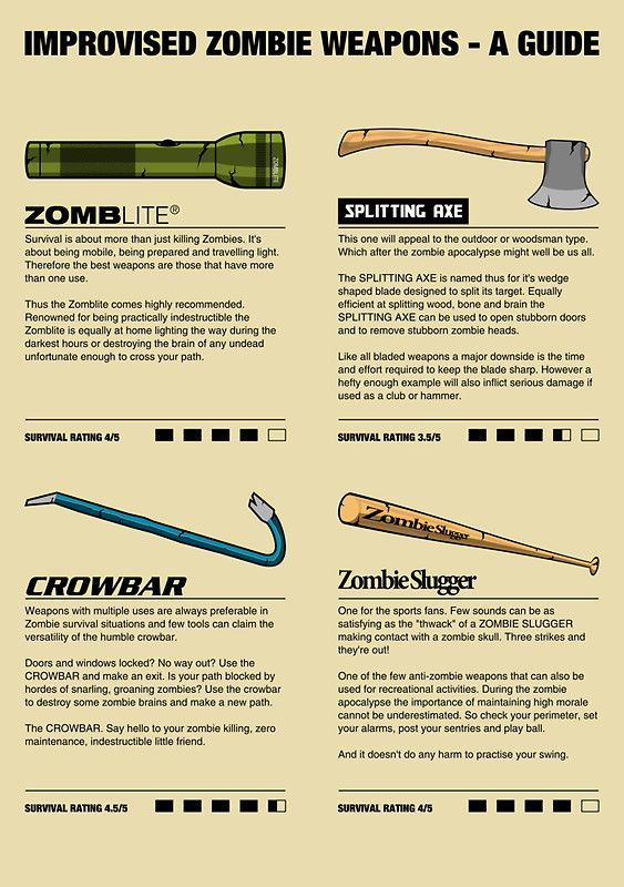 Improvised Zombie Weapons - A Guide  http://www.geekalerts.com/improvised-zombie-weapons-poster-t-shirts/#