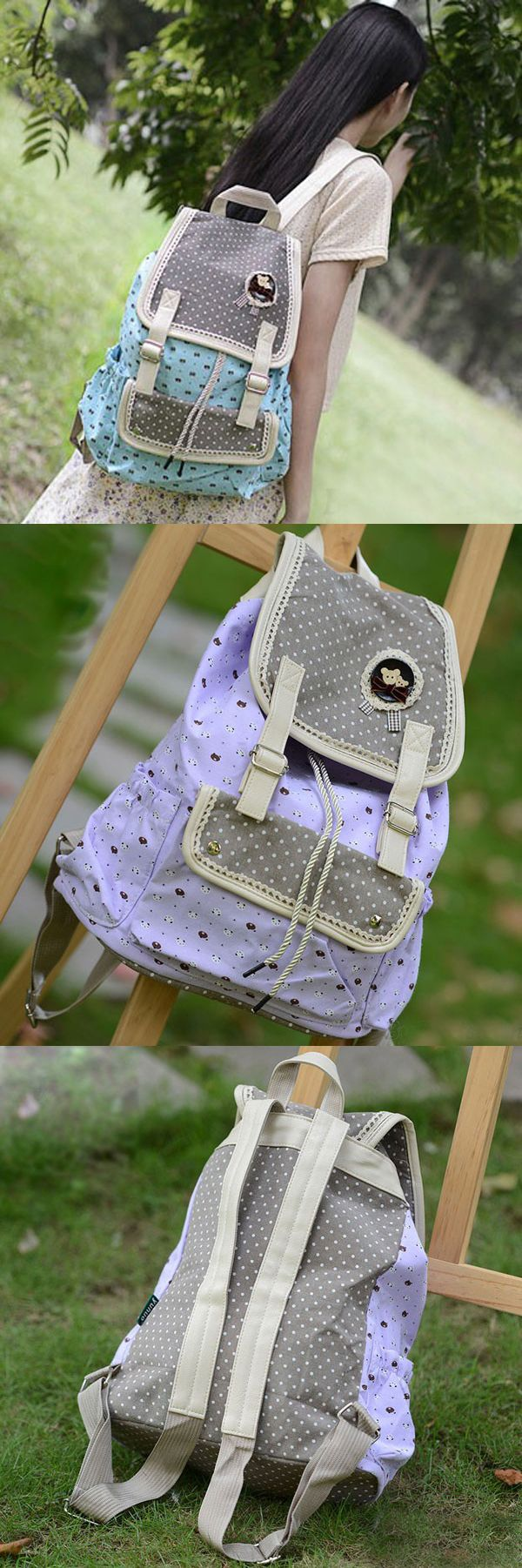 New Arrival Fresh Dots Floral Canvas Lace Backpack Schoolbag for Girls