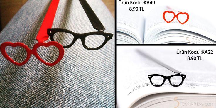gözlük ve kalpli en güzel kitap ayraçları