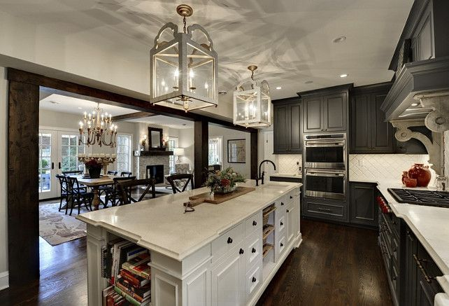 Kitchen with dark cabinetry and large contrasting island.  Love the lantern lighting!  #kitchens homechanneltv.com