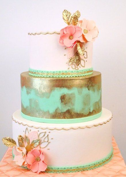 Very Pale Pink, Gold and  Mint  Wedding Cake ~Sugar paste flowers all ediblePink Flower, Mint Green, Cake Flower, Middle Tiered, Mint Gold, Gold Wedding Cakes, Gold Cake, Pale Pink, Blue Cake
