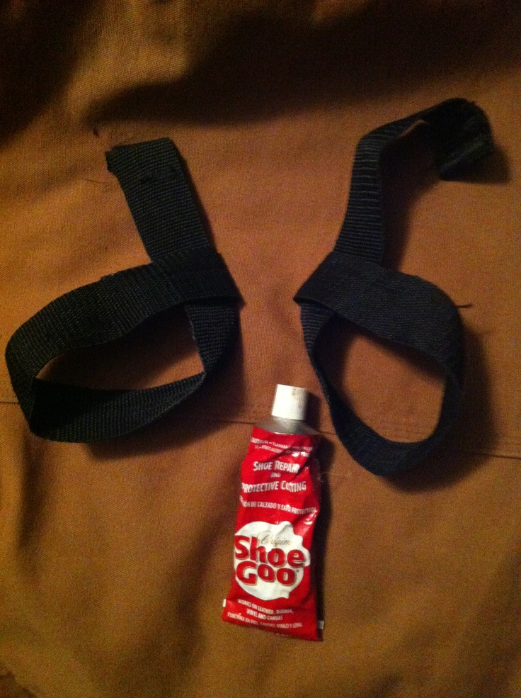 Home made weight lifting wrist straps with shoe goo. Nylon shoulder strap from gym bag cut in half, fold the halved lengths over them selves and glue with shoe goo! These straps held together while doing 540lb shoulder shrugs!