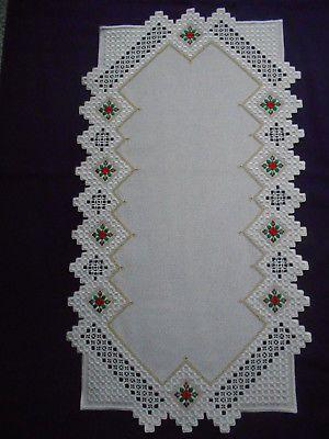 White and Gold Christmas Hardanger Table Runner with Poinsettias