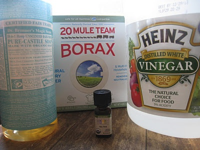 Window Cleaner 1.  Gather the following ingredients: 2 teaspoons borax, 1 teaspoon castile soap,   3/4 cup white vinegar, 1 1/2 cup hot water,     10 drops tea tree oil     2.  Combine the ingredients in a spray bottle. Shake to blend.  3.  Spray mixture on glass and allow to penetrate. Follow with a sponge or brush.     4.  Rinse off. Dry.