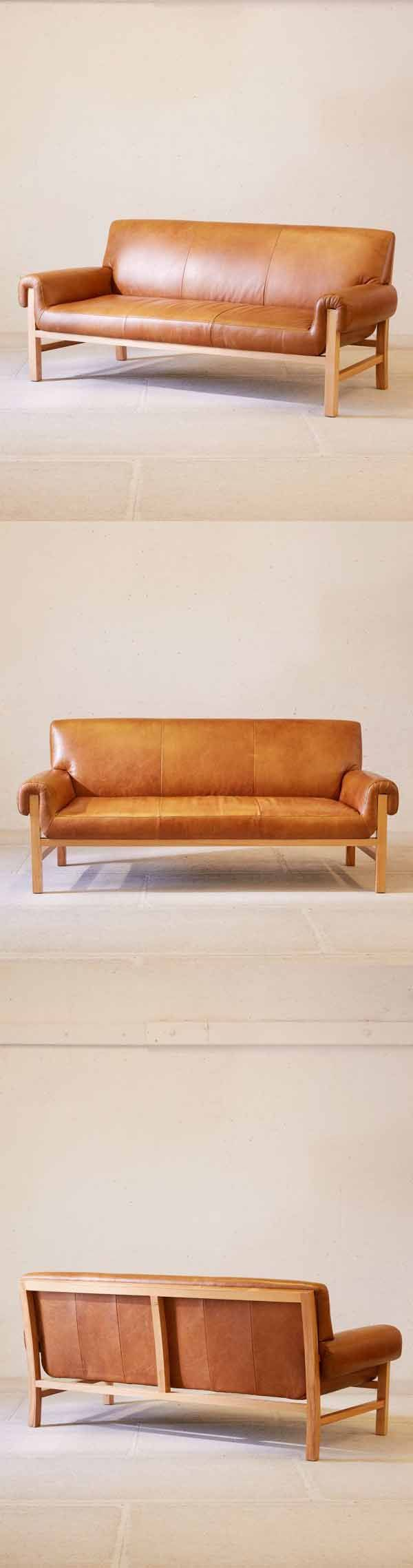 Luxe Leather Sofa On A Solid Natural