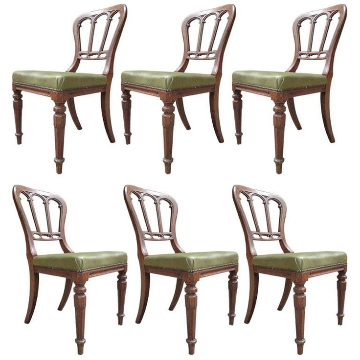 Good Early Set of 6 Gothic Oak Dining Chairs | From a unique collection of antique and modern dining-room-chairs at https://www.1stdibs.com/furniture/seating/dining-room-chairs/