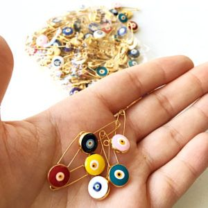 Lucky evil eye safety pin, protection for baby, gold plated evil eye pins, baby boy gift pin, baby shower gift, stroller, birth announcement, new mommy
