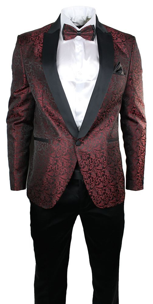 Mens Maroon Wine Black Paisley Pattern Suit Tuxedo Wedding Party Bow Tie Cumerband