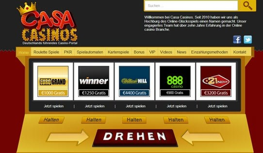 Casa Casinos is a poker and slot site designed with a German audience in mind. Based on a similar design principle as with Pokies Sites, the user can 'Drehen' or 'Spin' the slot machine and view a variety of casino sites on offer. Regal design features include a crown logo on the top left-hand side of the homepage, red and gold typography throughout and a vibrant and exciting design, geared specifically towards online gambling players who thrive on the thrill of the game.