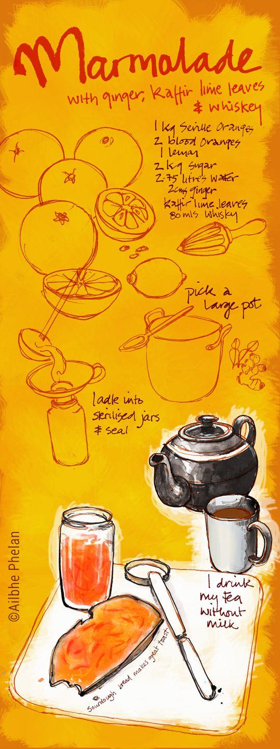 My current favourite marmalade  #ailbhephelan #illustration #food #illustratedrecipes #marmalade #SevilleOranges #illustratedfood